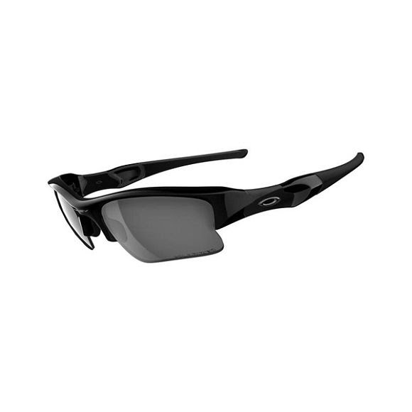 Oakley Flak Jacket XLJ Sunglasses: Jet Black Frame with Polarized Black Iridium Lens Image