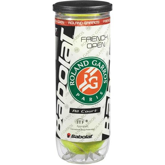Babolat French Open All Court Tennis Balls: 3 Ball Can Image