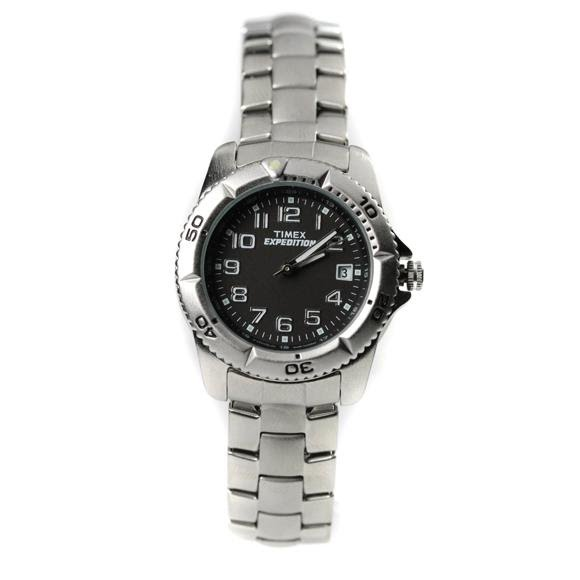 Timex Women S Expedition Black Indiglo Dial Stainless Steel Bracelet Watch T49762 Image