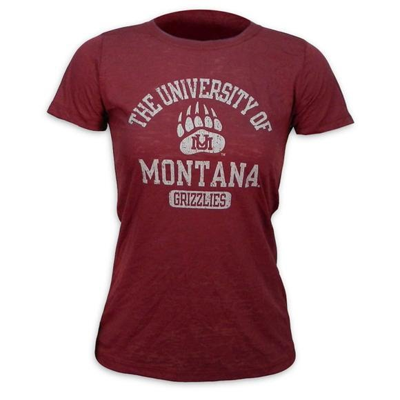 Blue 84 Womens JRS University of Montana Grizzlies Burnout Tee Image