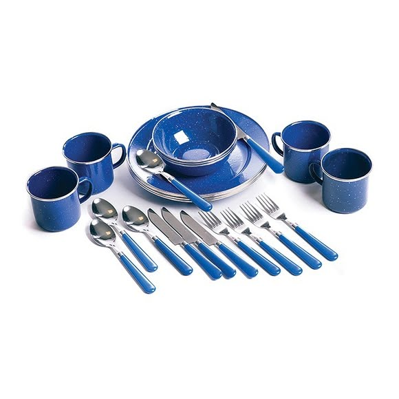 Stansport Deluxe 24-piece Enamel Tableware Set Image