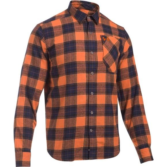 Under armour mountain men 39 s borderland flannel for Flannel shirt under sweater