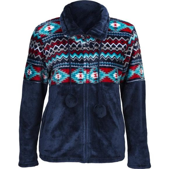 Trail Crest Women's Aztec Flannel Plush Fleece Full Zip Jacket Image