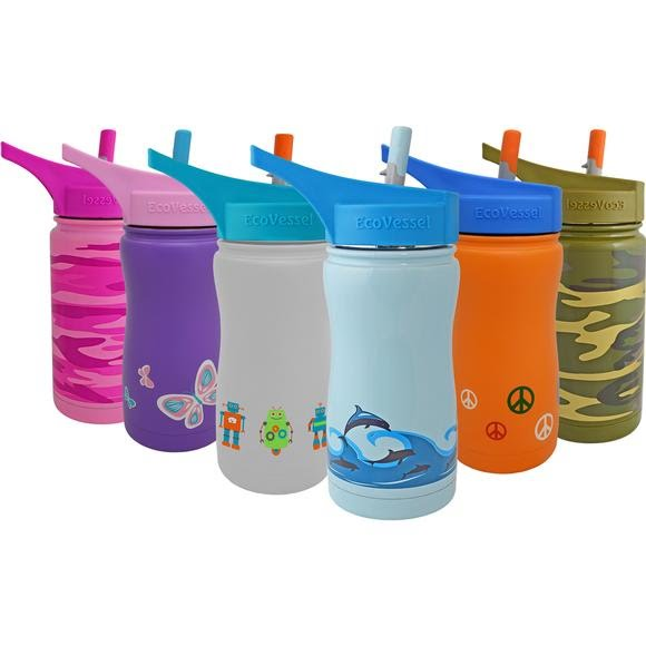 Eco Vessel Frost Triple Insulated Stainless Steel Water Bottle With Flip Spout 13 oz Image