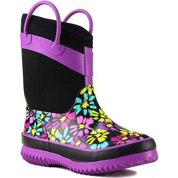 Western Chief Girl's Youth Daisy Shower Black Neoprene Boots Image