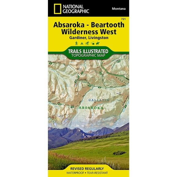National Geographic Absaroka-Beartooth Wilderness West Trail Map Image