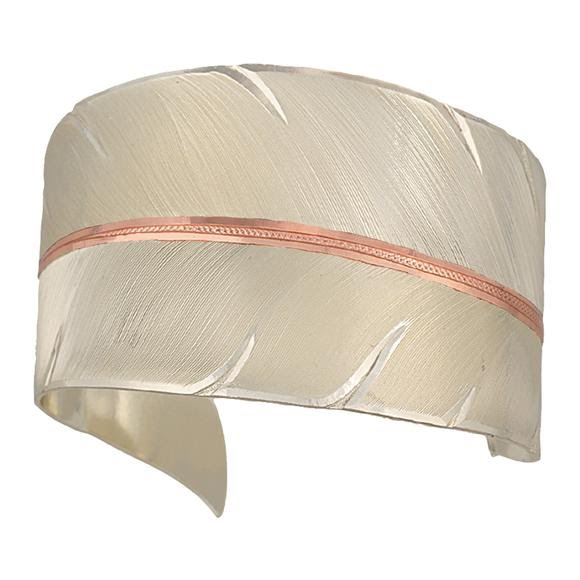 Montana Silversmiths Two Tone Copper To Fly with Strength and Grace Feather Cuff Bracelet Image