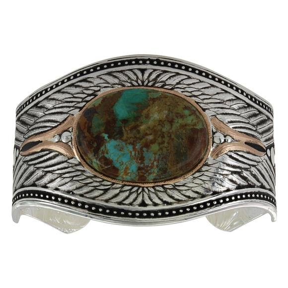 Montana Silversmiths Feathered Turquoise Flight Cuff Bracelet Image