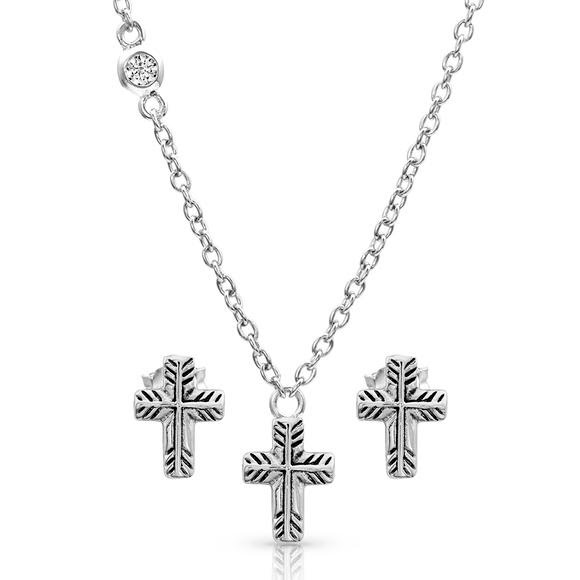 Montana Silversmiths Palm Leaf Cross Jewelry Set Image