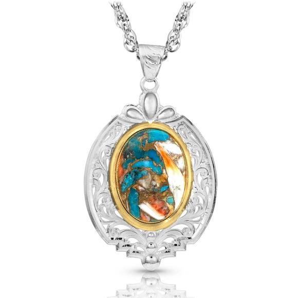Montana Silversmiths Sweet Memories Mountain Glacier Turquoise Necklace Image