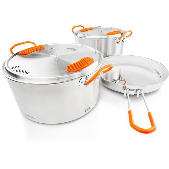Gsi Outdoors Glacier Stainless Base Camper Medium Cookware Set Image