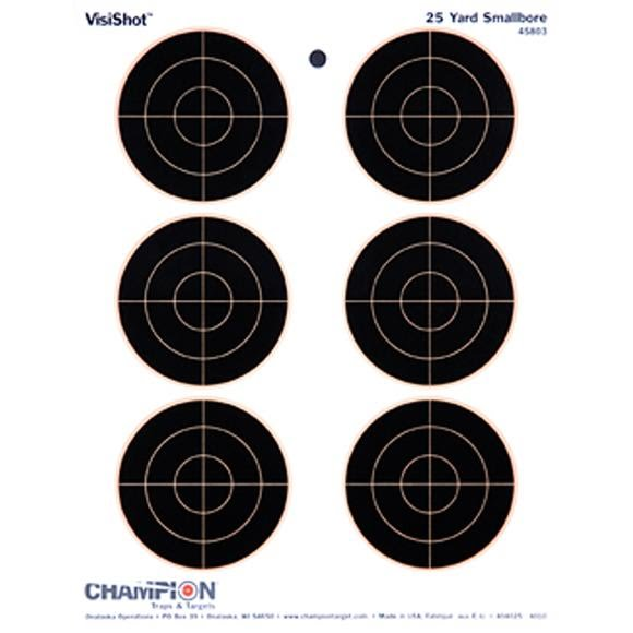 Champion VisiShot Group of Six 3 Inch Bulls Targets (10 Pack) Image