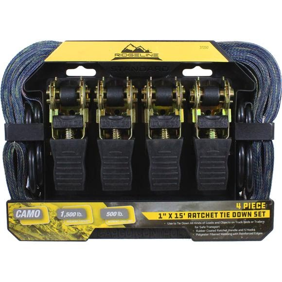 Focus-on Tools Camo 1''x15' HD Ratchet Tie Down Set (4 Pack) Image