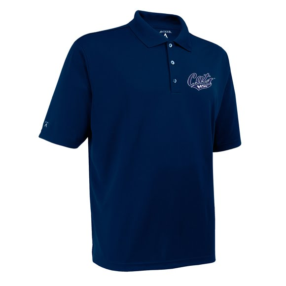 Antigua Mens MSU Bobcats Exceed Short Sleeve Polo Shirt Image