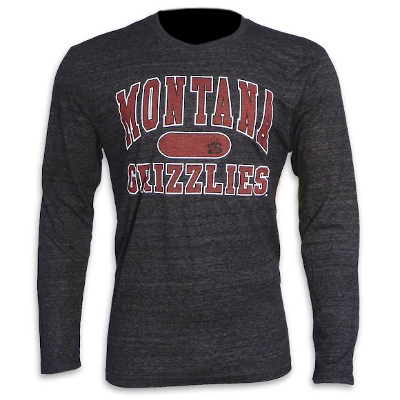 Blue 84 Mens University of Montana 'Montana Grizzlies' Triblend L/S Tee Image
