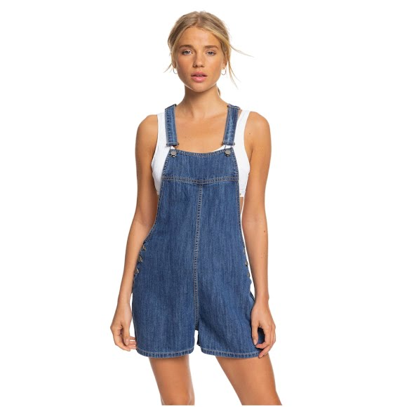 Roxy Women's Feet On The Floor Denim Dungaree Overall Shorts Image
