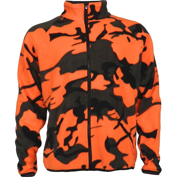 World Famous Men's Woodland Orange Camo Fleece Jacket Image
